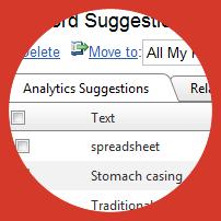 Analytics keyword suggestions