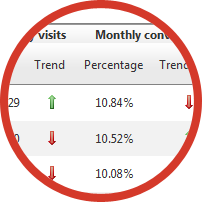Monthly visits and conversions